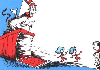 Thing One and Thing Two escaping from their box, from <cite>The Cat in the Hat</cite>